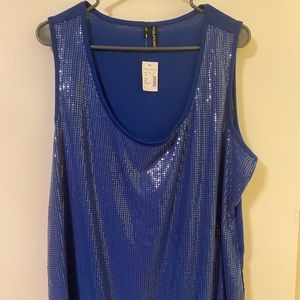 Blue sequin tank